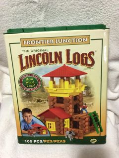 """ORIGINAL CLASSIC -LINCOLN LOGS """"FRONTIER JUNCTION"""" REAL WOOD LOGSNOT 100 PIECES113HOURS IF IMAGINARY FUN & MOTOR SKILLSREAD BELOW"""