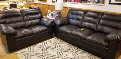 Couch and loveseat combo faux leather- dark brown