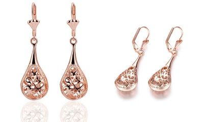 ***BRAND NEW***Rose Gold Antique Design Drop Earrings***