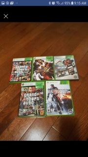 Xbox 360 games 5 for 25$ selling together