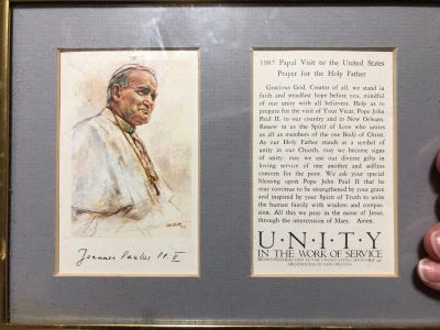 Pope John Paul framed matted