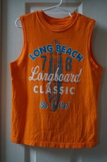 Boys Faded Glory Orange Long Beach Graphic Muscle Tank Size 6/7