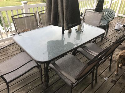 Patio set with loveseat coffee table and two chairs