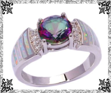 New - Rainbow Topaz and White Fire Opal Ring - Size 8