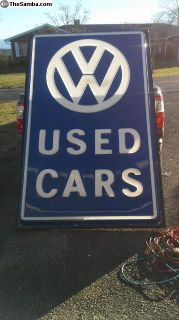 Large 5ft by 8 ft vw used car dealership sign nice