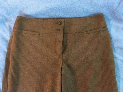 Pin stripe dress pants. Brown.