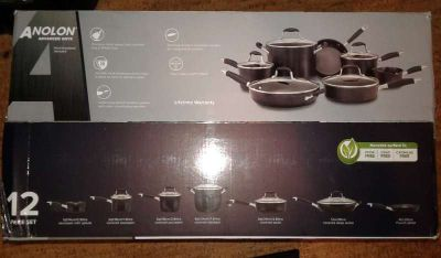Anolon Onyx 12-Pc. Hard-Anodized Set of Pots and Pans/Cookware