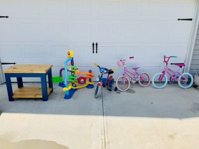 Kids items. Table, bikes, 3ft tall toy