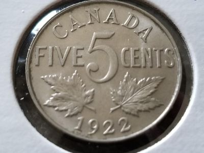 GORGEOUS 1922 CANADA 5 CENTS