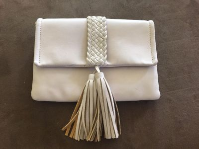 NEW! Off white/Bone color leather clutch purse w/ braided tassel design