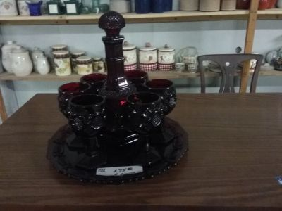 Cape Cod Ruby Red Decanter Set