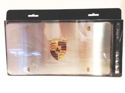 Purchase Porsche Marquee License Plate Frame Brushed Finish Colored Crest OEM motorcycle in Santa Clara, California, US, for US $95.00