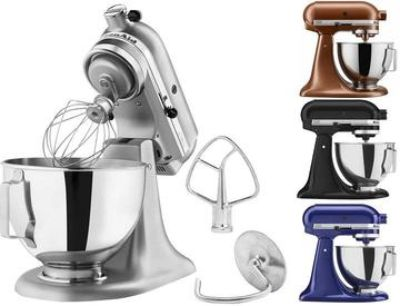 KitchenAid 4.5 quart tilt-head stand mixer with stainless steel bowl