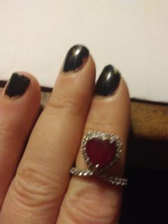 2.76ct Heart Shape Mahaleo(R)Ruby With .57ctw Round White Zircon Sterling Silver Ring - TEH562-6 Size: 6.00