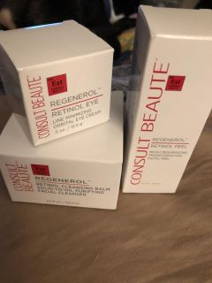 Regenerol eye cream,peel and cleansing balm new paid over sixty asking 30.00 obo