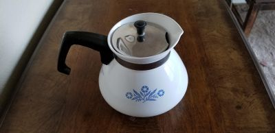 Vintage Blue Cornflower Corning Ware 6 Cup Coffee ~ Tea Pot with Lid