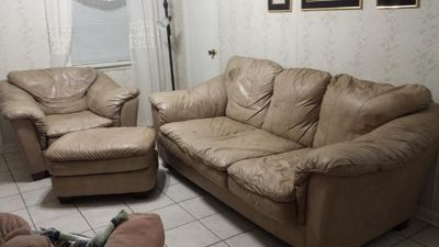 $135, 3 Pc. Lane Leather sofa, chair, ottoman