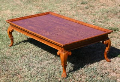 long Parquet wooden coffee table
