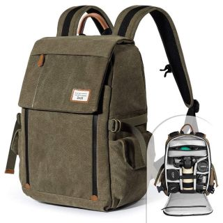 Waterproof Canvas Professional Camera Bag for Laptop and Other Digital Camera Accessories with Rain Cover-Green