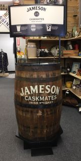 Jameson Irish Whiskey barrel store display!! Has three shelves counting the top. Great for flat screen TV and shelves for DVD player etc...