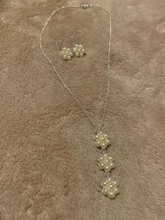 Silver and pearl cluster necklace and earrings