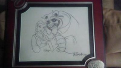 autographed beauty and the beast sketch