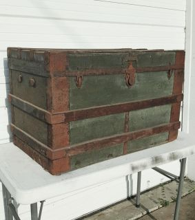 BARN FIND! Late 1800s Wood and Metal Steamer Trunk