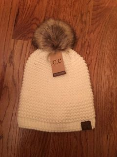 C.C ADJUSTABLE BEANIE FAUX FUR - IVORY - ONLY ONE THIS COLOR THIS PRICE - THEY ARE NO LONGER ON SALE FOR THIS PRICE