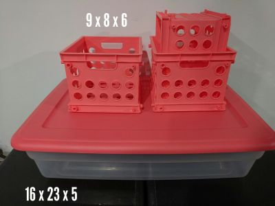 Coral tote and 3 small crates