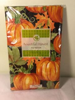 Bountiful harvest vinyl tablecloth with Flannel backing size 52 x 72