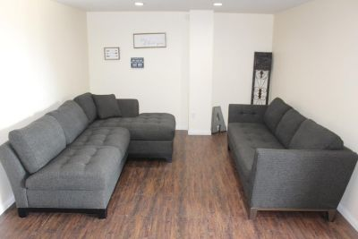 Gorgeous Charcoal gray Sectional with chaise and Sofa Living room set!
