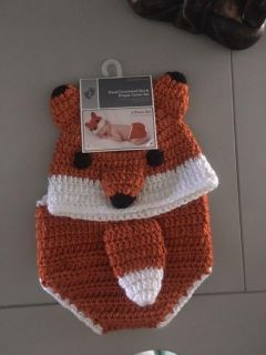 Hand crocheted hat & diaper cover