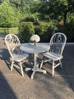 Gray and light turquoise table and chairs