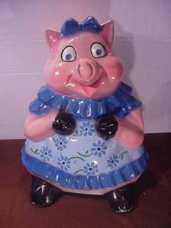 """Vintage 30's Painted Carnival Chalkware Miss Pig 21"""" inches Tall"""