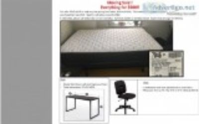 mattress box spring bed frame desk and chair