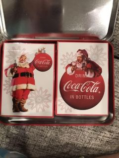 2008 COCA COLA 2 DECK UNOPENED PLAYING CARDS IN COLLECTIBLE TIN 1 of 2 pics