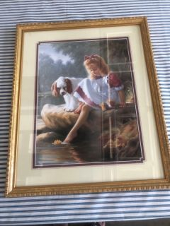 Picture of LITTLE GIRL & Her Dog by HOME INTERIORS!! 17.5 X 21.5