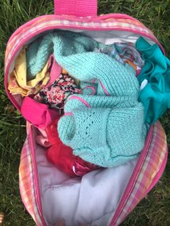 Backpack of American Girl Bitty Baby doll clothes