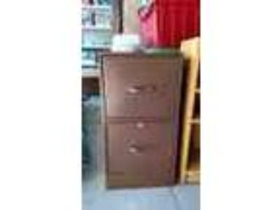 Brown 2 Drawer Metal File Cabinet