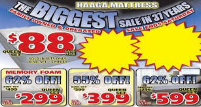 HAAGA MATTRESS CLEARANCE CENTER ONLY BRAND NEW MATTRESSES IS HAVING A NO CREDIT CHECK FINANCING EVENT 90 DAYS SAME AS CASH