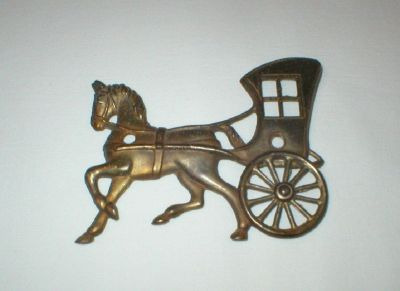Vintage Wall Mount Brass Horse & Carriage / Buggy - Home Decor
