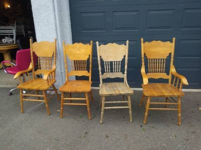 4 August Grove Style Country solid wood Dining chairs I will be in Fairfield on 6/16 if you want...