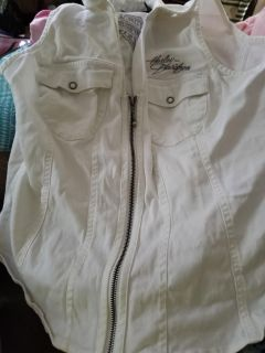 Ladies Harley zip up White Denim Vest with Embroidery and lace up back