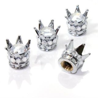 Find 4 Chrome Silver Crown Clear Diamond Bling Tire/Wheel Stem Valve Caps car truck motorcycle in York, Pennsylvania, United States