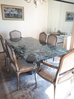 Large Italian Green Marble Dining Room Table with 6 chairs