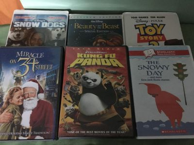 3 DVDs and 3 VHS tapes