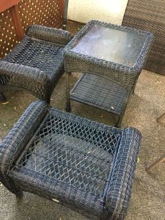 Garden patio chairs and side table