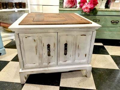 White Coffee table with reclaimed top