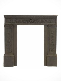 Antique Neoclassical Cast Iron Fireplace Surround