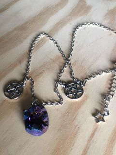 Real Geode Crystal Necklace with Pentagram New